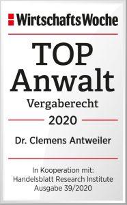 Top Anwalt Vergaberecht 2020 Dr. Clemens Antweiler